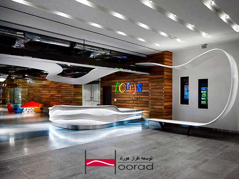 نورپردازی مدرن ساختمان اداری